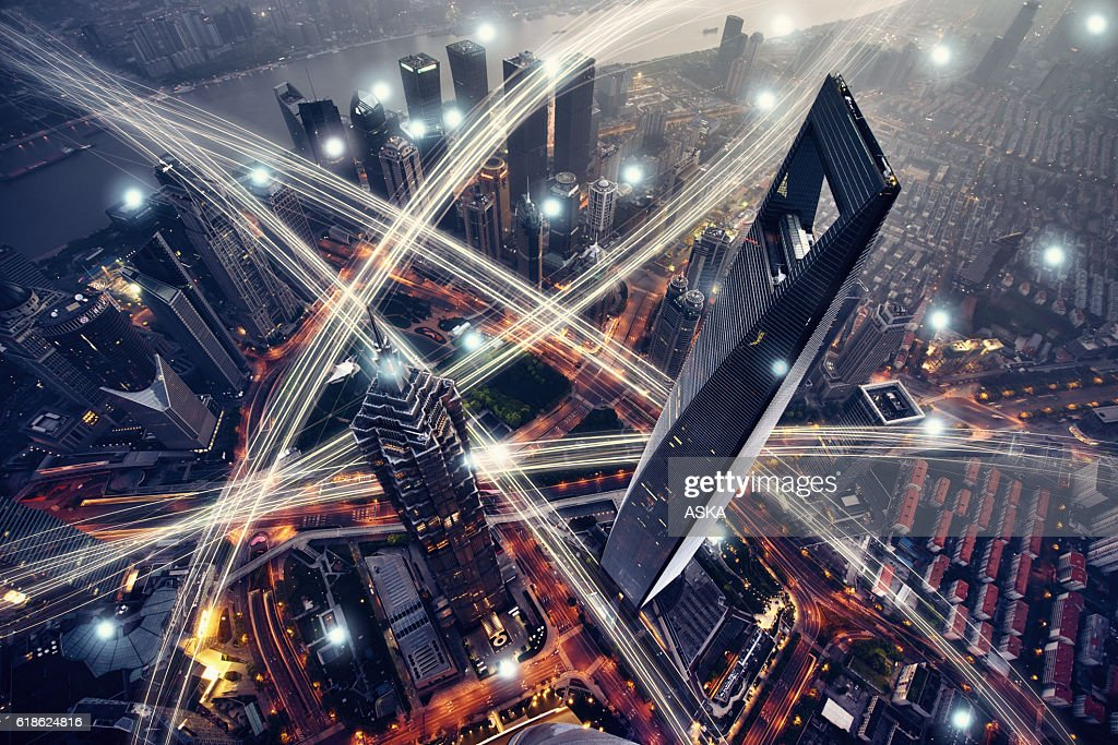 Shanghai city network technology : Stock Photo