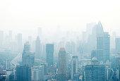 Shanghai city in the fog, China.