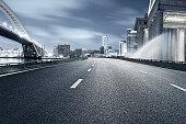 shanghai cityscape and urban road.