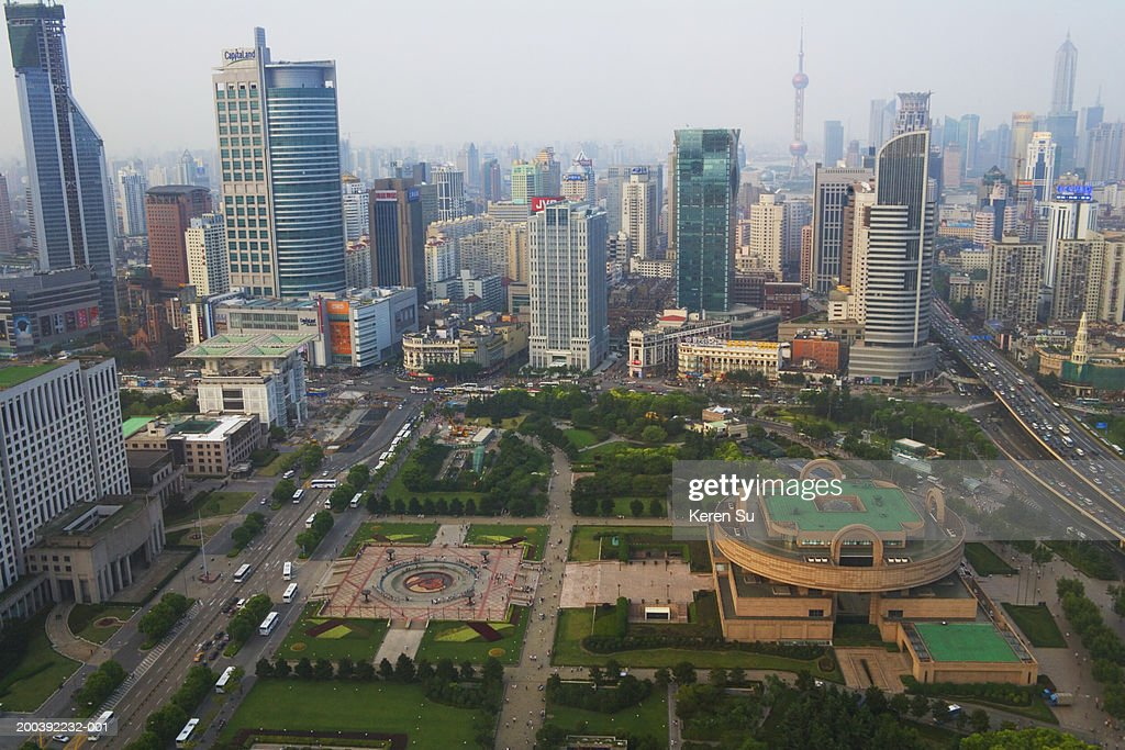 Shanghai cityscape near People's Square, China