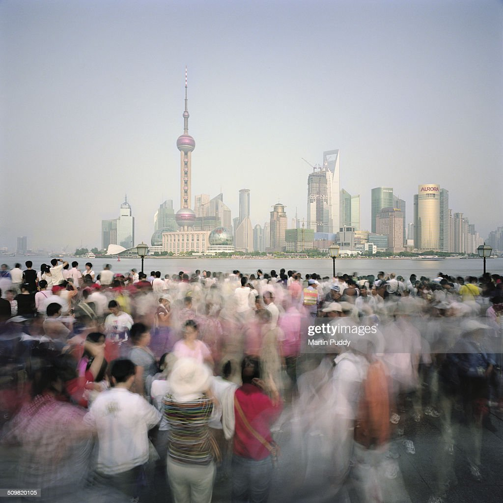 Shanghai, crowds of people on the Bund