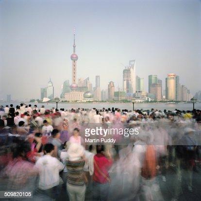 Shanghai, crowds of people on the Bund