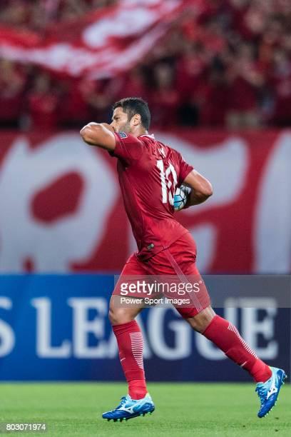 Shanghai FC Forward Givanildo Vieira De Sousa celebrating his score during the AFC Champions League 2017 Round of 16 match between Shanghai SIPG FC...