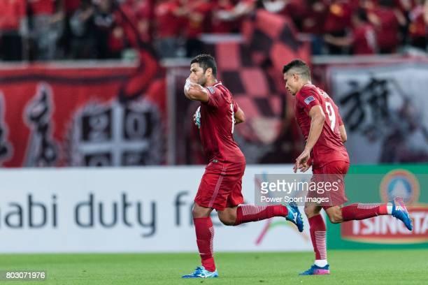 Shanghai FC Forward Givanildo Vieira De Sousa celebrating his score with Elkeson De Oliveira Cardoso during the AFC Champions League 2017 Round of 16...