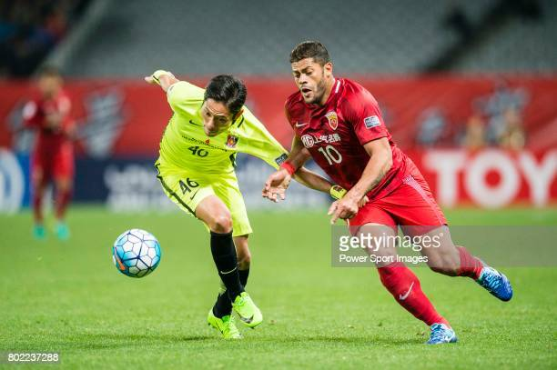 Shanghai FC Forward Givanildo Vieira De Sousa fights for the ball with Urawa Reds Defender Moriwaki Ryota during the AFC Champions League 2017 Group...