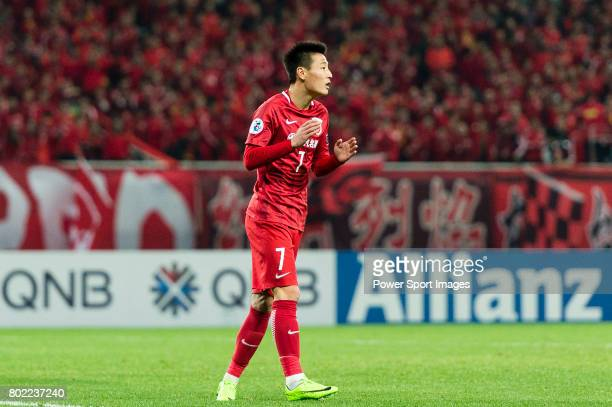 Shanghai FC Forward Wu Lei gestures during the AFC Champions League 2017 Group F match between Shanghai SIPG FC vs Urawa Red Diamonds at the Shanghai...