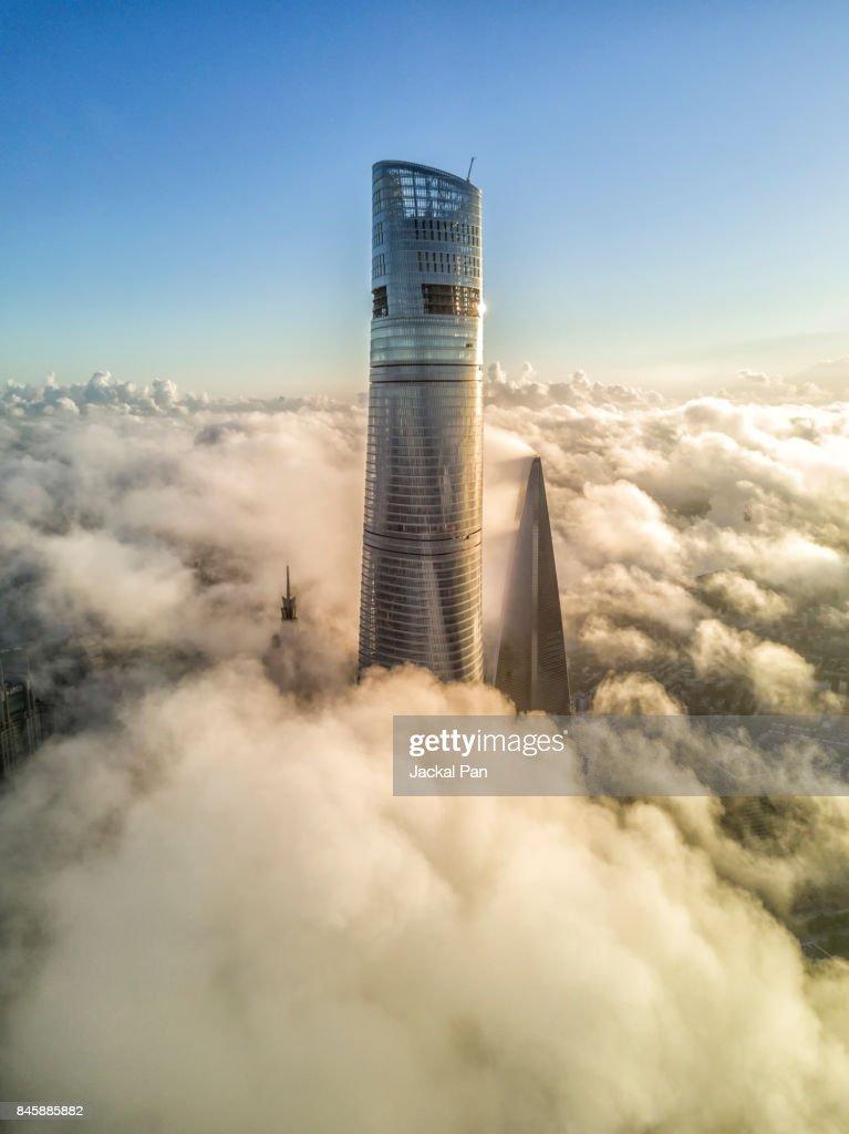 Shanghai Financial District In Fog : Stock Photo