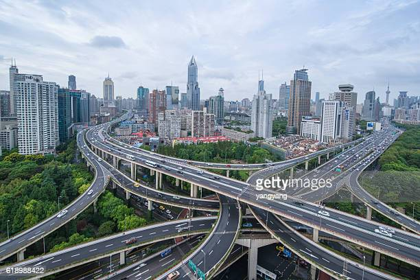 Shanghai flyover interchange with traffic