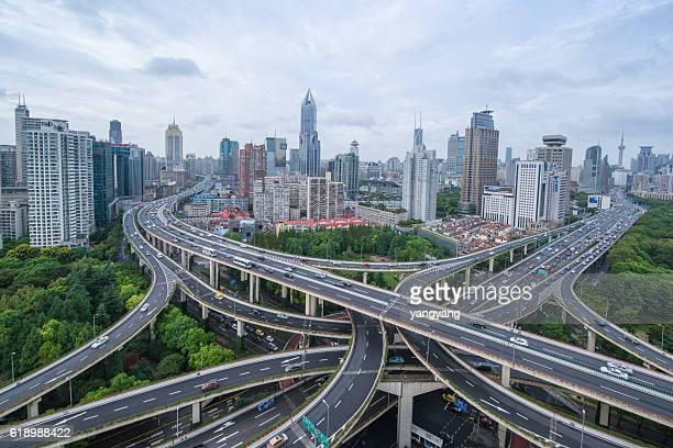 Shanghai flyover interchange with traffic