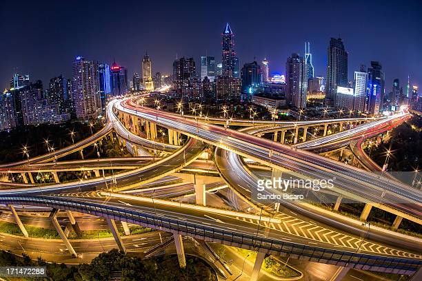Shanghai Highway Skyline at night