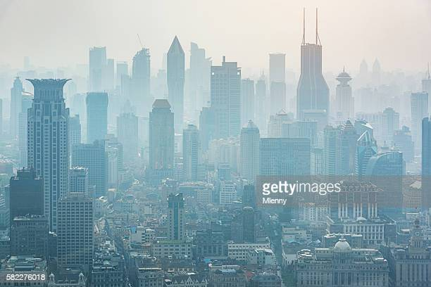 Shanghai in the Mist Fog Skyline China