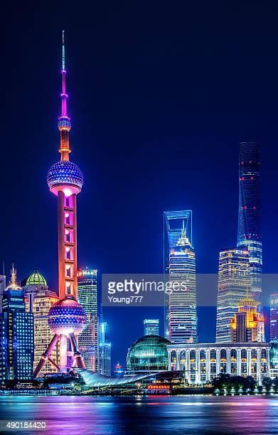 Wahrzeichen von Shanghai bei Nacht
