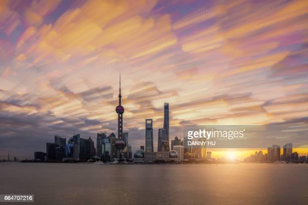 Shanghai landmark at sunrise