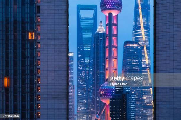 Shanghai landmark in Lujiazui with building detail