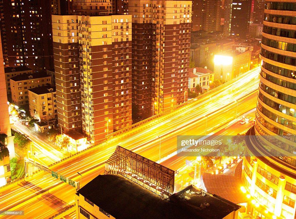 Shanghai lights at night : Stock Photo