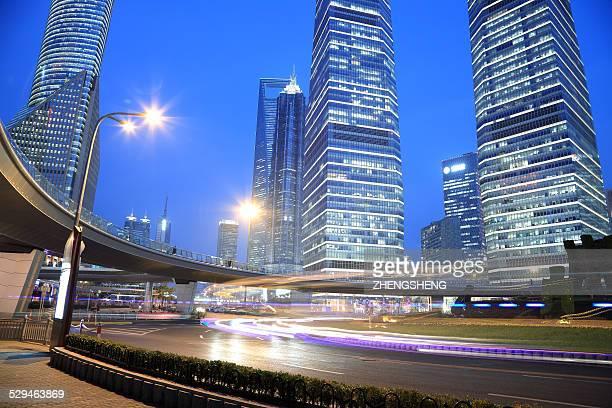 Shanghai Lujiazui at night of road traffic trails