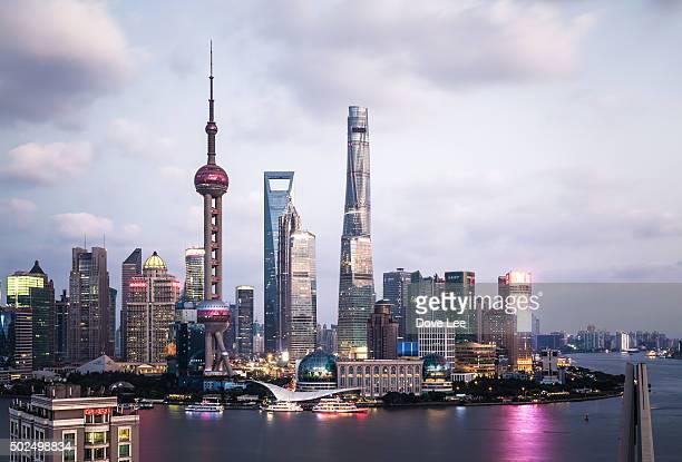 Shanghai Lujiazui financial district at dusk