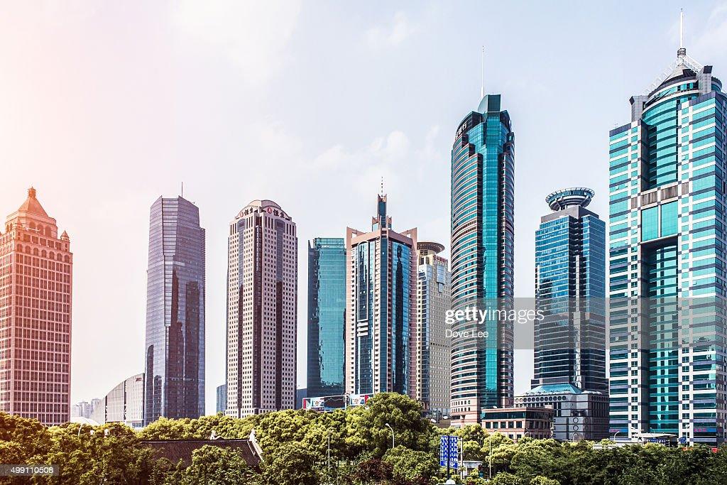Shanghai Lujiazui financial district office blocks at dusk
