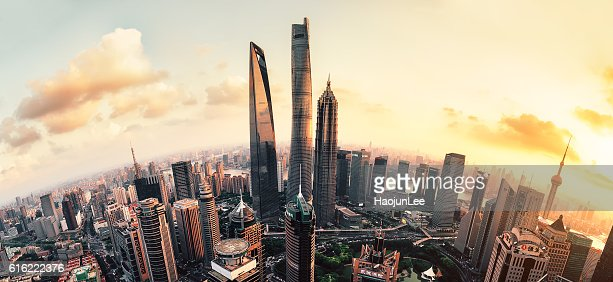Shanghai Lujiazui global financial district at sunset : Stock Photo