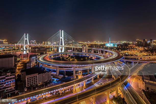 shanghai nanpu bridge at night