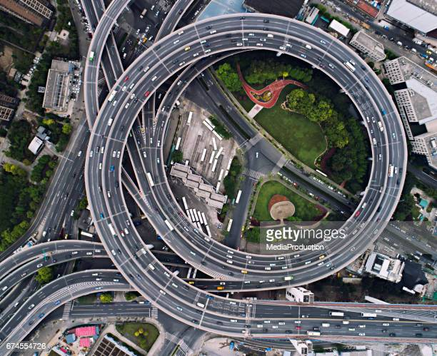 Shanghai Nanpu bridge circles from above