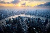 Shanghai skyline cityscape, Aerial view of shanghai, shanghai lujiazui finance and business district trade zone skyline, Shanghai China