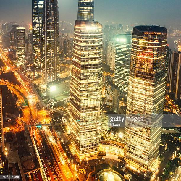 Shanghai Pudong, futuristische financial district