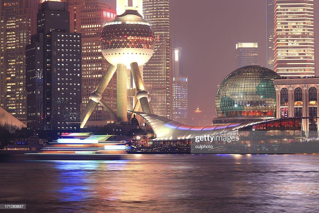 'Shanghai Pudong night, closeup'