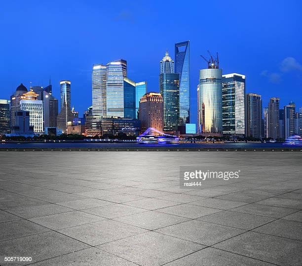 Vista nocturna de Shanghai Pudong