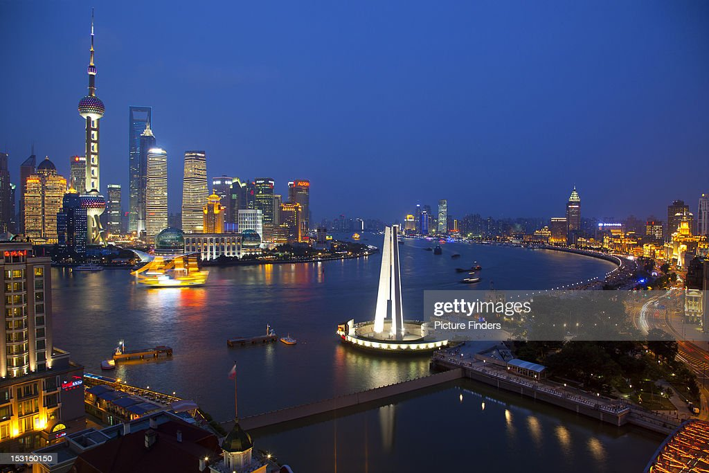 Shanghai Pudong Skyline on Huangpu River : Stock Photo