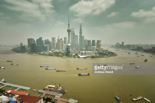 Shanghai Pudong with Huangpu River and ship traffic, Shanghai, China, Asia