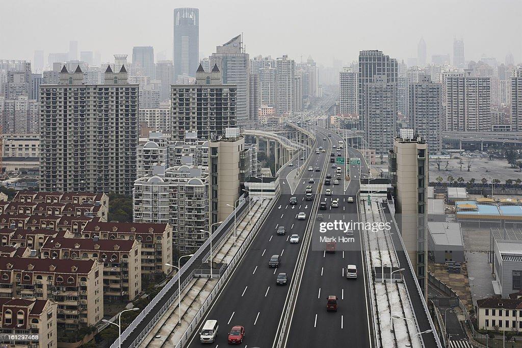 Shanghai seen from Lupu Bridge : Stock Photo