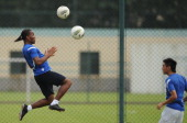 Shanghai Shenhua player Didier Drogba trains for the first time with the team in Shanghai on July 16 2012 Drogba was given a hero's welcome as he...
