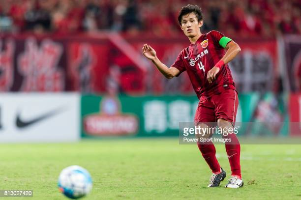 Shanghai SIPG FC defender Wang Shenchao in action during the AFC Champions League 2016 Quarter Final 1st leg between Shanghai SIPG FC vs Jeonbuk...