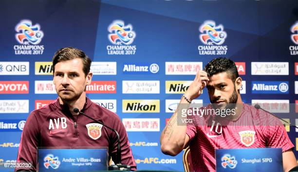 Shanghai SIPG head coach Andre VillasBoas and player Hulk attend the press conference ahead of AFC Champions League 2017 group F match against FC...