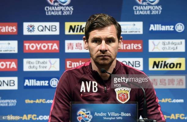 Shanghai SIPG head coach Andre VillasBoas attends the press conference ahead of AFC Champions League 2017 group F match against FC Seoul at Shanghai...