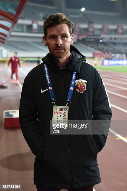 Shanghai SIPG head coach Andre VillasBoas looks on during the 4th round match of China Super League between Shanghai SIPG and Shandong Luneng at...