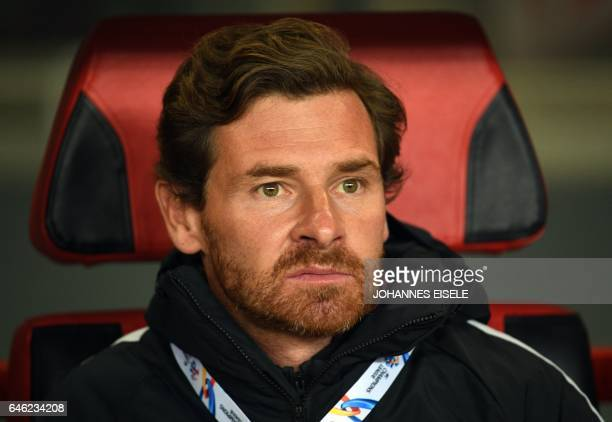 Shanghai SIPG's head coach Andre VillasBoas reacts during the AFC Asian Champions League group football match between China's Shanghai SIPG and...