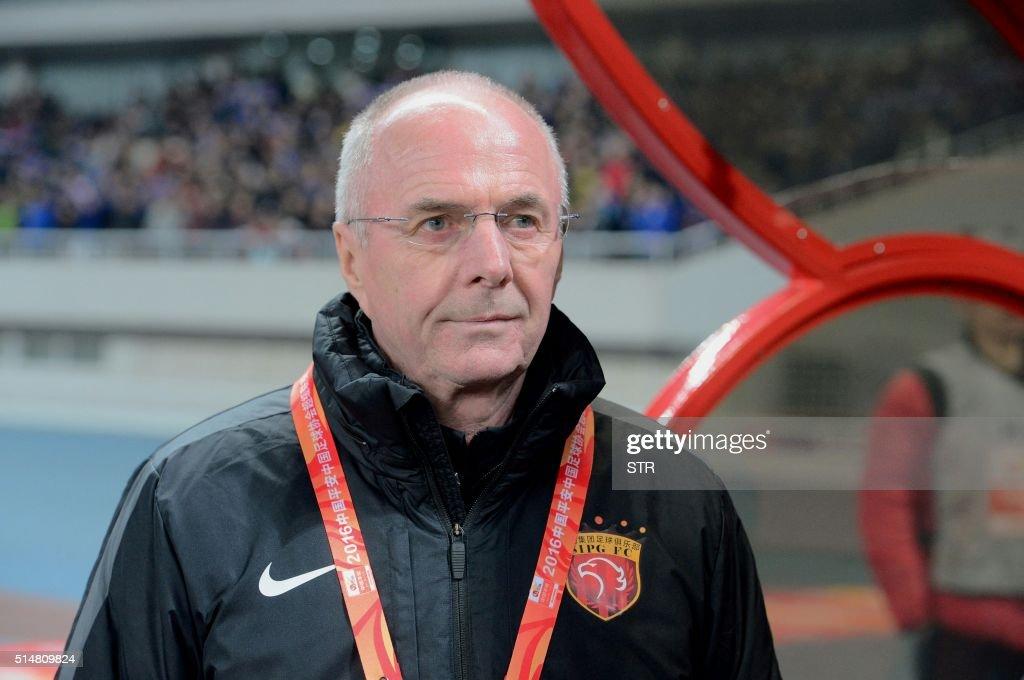 Shanghai SIPG's head coach SvenGoran Eriksson reacts during the Chinese Super League football match against Shanghai Shenhua in Shanghai on March 11...