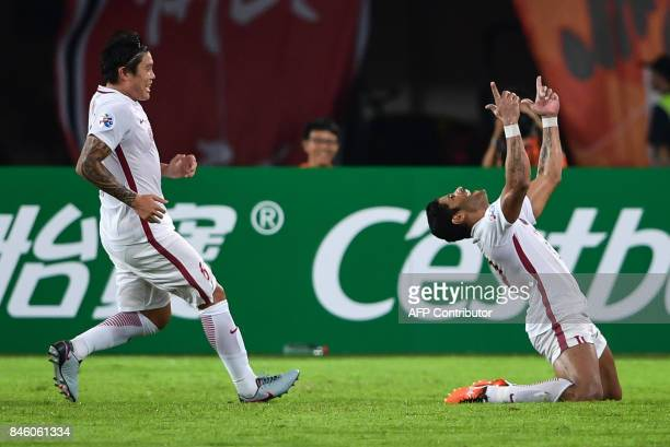 Shanghai SIPG's Hulk celerates after scoring a goal during their AFC Champions League quarterfinal football match against Guangzhou Evergrande in...