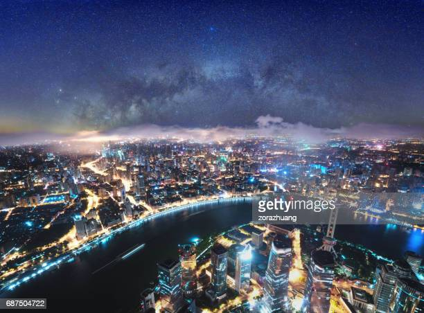 Shanghai Skyline and Milky Way, China