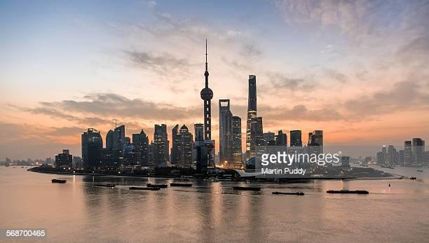Shanghai skyline and Shanghai tower at dawn