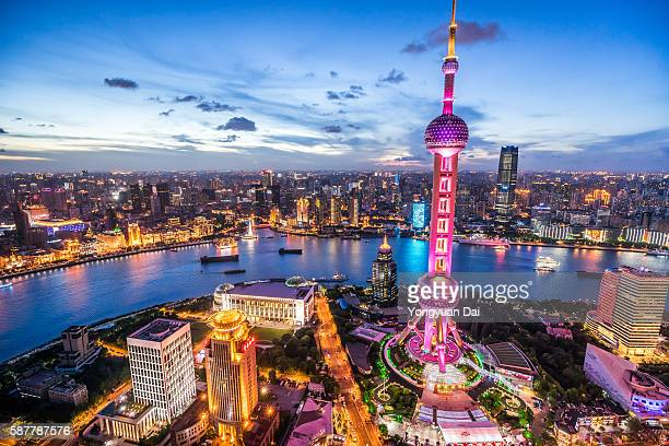 Shanghai Skyline ao Anoitecer