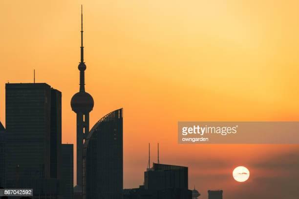 Shanghai Skyline at sunset