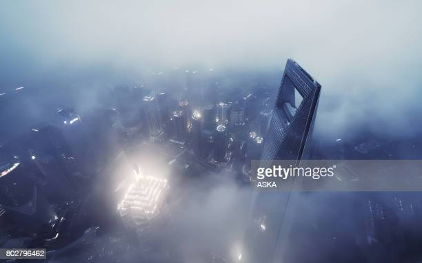 Shanghai Skyline in Sea of Clouds at night