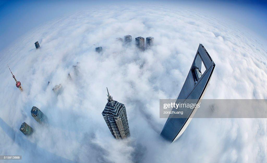 Silhouette de Shanghai de mer de nuages : Photo