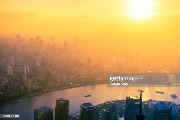 Shanghai skyline in sunset, China