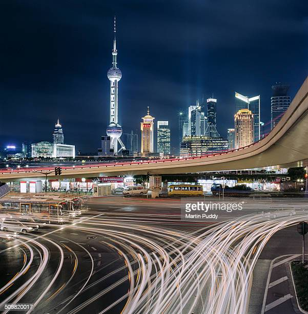 Shanghai skyline with busy intersection
