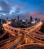 Shanghai skyline with intersection and traffic