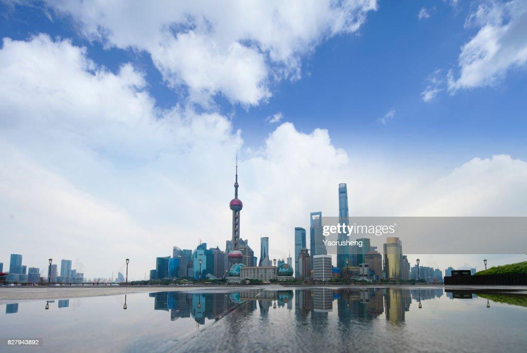 shanghai skyline with reflection,China : Stock Photo